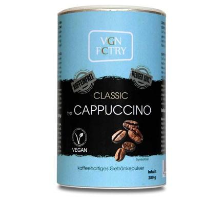 Veganer Cappuccino Pulver ohne Koffein weniger Zucker