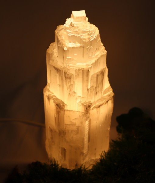 Selenit Heilstein Lampe mit Leuchtmittel ca. 21 cm