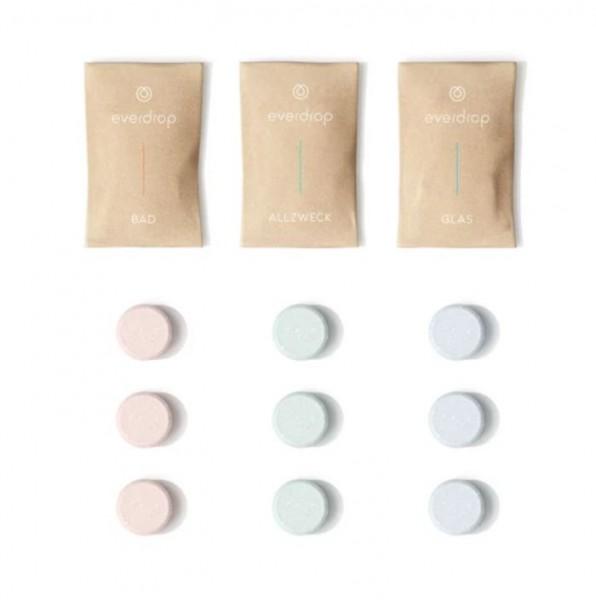 everdrop Tabs Kit - Mix - 9 Tabs - Zero-Waste Allzweckreiniger, Badreiniger & Glasreiniger