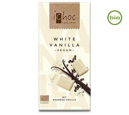 iChoc WHITE VANILLA mit Boubon Vanille, Bio, 80g Schokolade