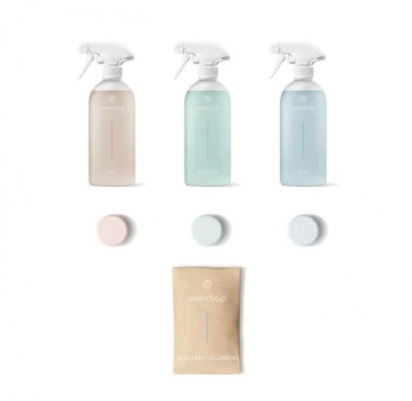 everdrop Starter Flaschen Kit - Zero-Waste Allzweckreiniger, Badreiniger & Glasreiniger