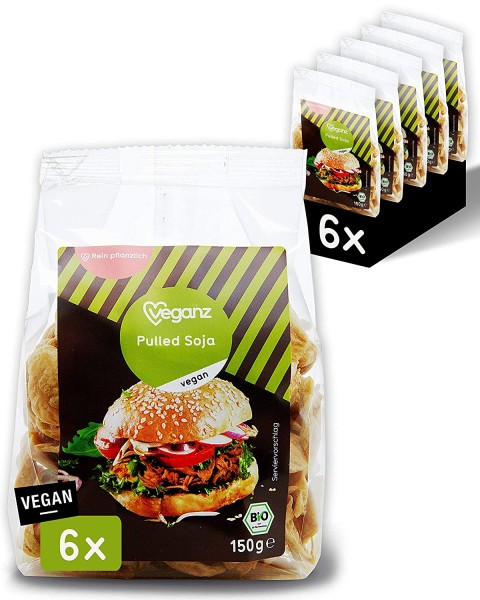 Veganz BIO Pulled Soja - würzig-zart und vegan mit Protein - als Fleischersatz zum Kochen (6 x 150g)