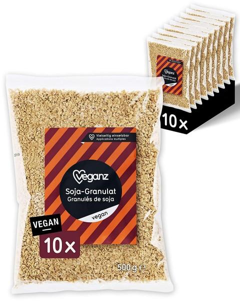 Veganz Soja-Granulat - veganes Hack mit Protein - als Fleischersatz zum Kochen - (10 x 500g)