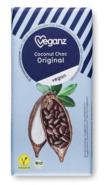 Veganz BIO Coconut Choc Original 80g - Vegane Schokolade mit Kokosblütenzucker und Bio Kakao